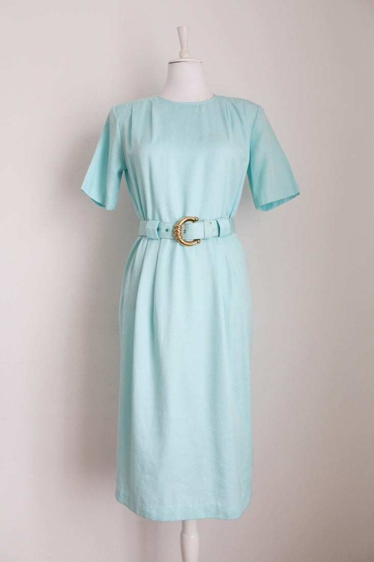 VINTAGE MINT BELTED DAY DRESS - SIZE 12