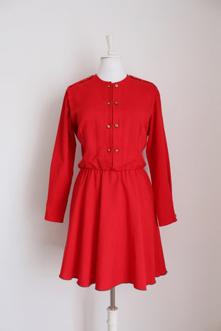 VINTAGE RED LONG SLEEVE DRESS - SIZE 12