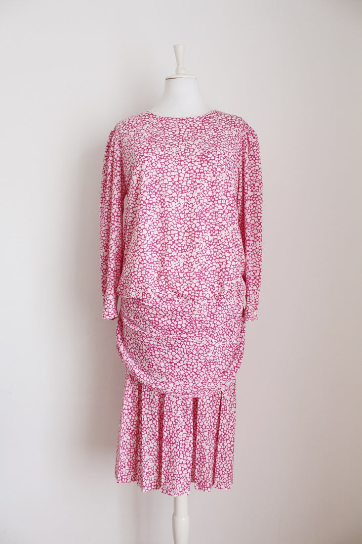 VINTAGE PINK WHITE PRINT DROP WAIST DRESS - SIZE 16