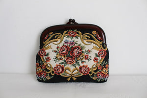 VINTAGE TAPESTRY FLORAL BLACK PURSE