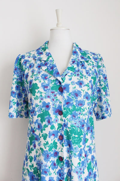 VINTAGE BLUE GREEN FLORAL PRINT DAY DRESS - SIZE 14