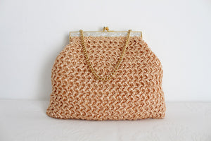 VINTAGE RAFFIA STRAW WOVEN PEACH PINK CHAIN BAG