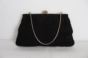 VINTAGE BLACK LACE EVENING BAG