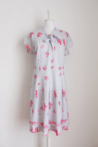 VINTAGE FLORAL GREY PINK PRINT PUSSYBOW DRESS - SIZE 14