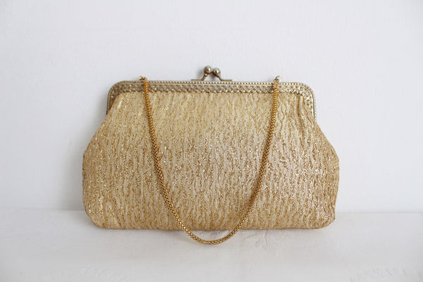 VINTAGE GOLD FABRIC CHAIN EVENING BAG