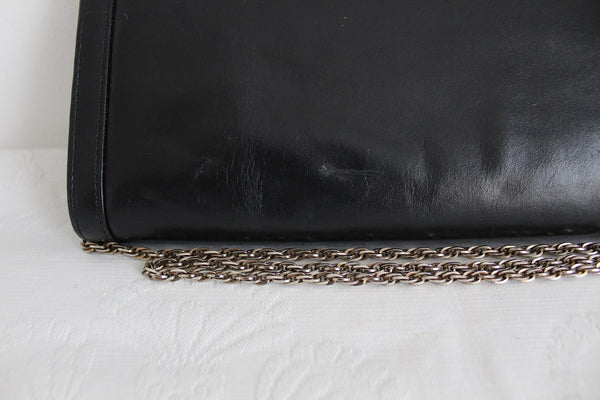 VINTAGE GENUINE LEATHER BLACK CHAIN SLING BAG