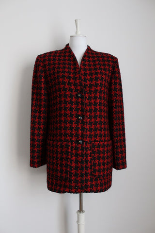 VINTAGE HOUNDSTOOTH CHECK RED BLACK KNIT JACKET - SIZE 14