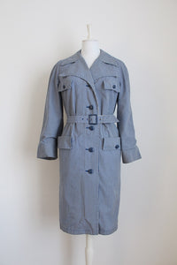 VINTAGE GINGHAM CHECK BLUE WHITE RAINCOAT - SIZE 14