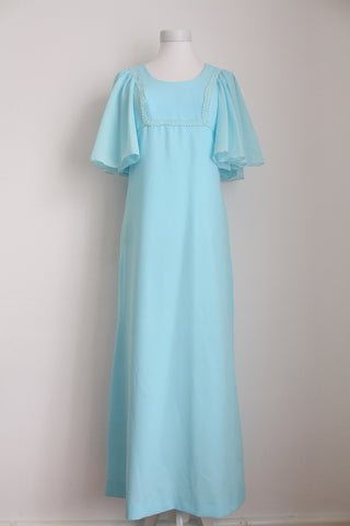 VINTAGE PASTEL BLUE FLARED SLEEVES MAXI DRESS - SIZE 10