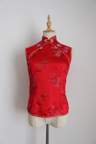 100% SILK CHINESE EMBROIDERY RED BLOUSE - SIZE 6
