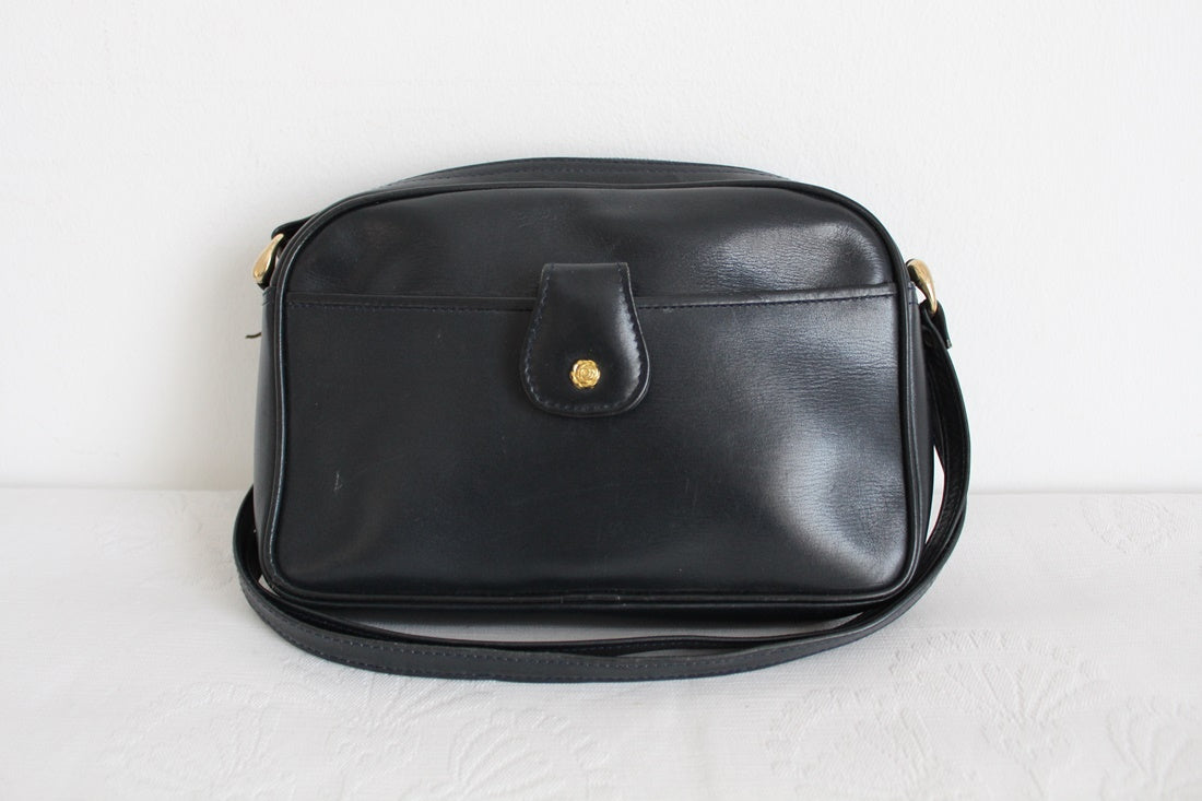 GENUINE LEATHER NAVY VINTAGE CROSSBODY BAG
