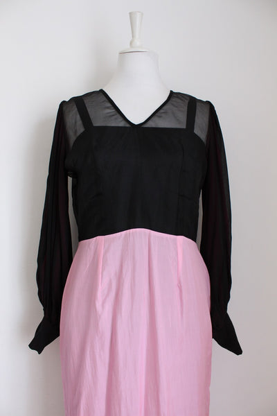 100% SILK VINTAGE BLACK PINK DRESS WITH SLIP - SIZE 12