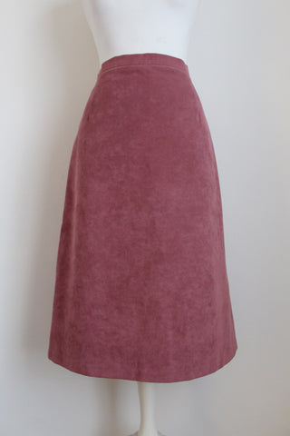 VINTAGE FAUX SUEDE PINK A-LINE SKIRT - SIZE 12