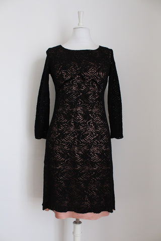 VINTAGE BLACK PINK LACE COCKTAIL DRESS - SIZE 8