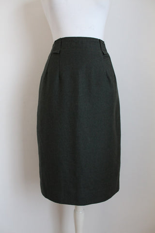 VINTAGE WOOL HUNTER GREEN PENCIL SKIRT - SIZE 12