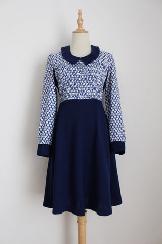 VINTAGE APPLE PRINT BLUE WHITE DRESS - SIZE 10