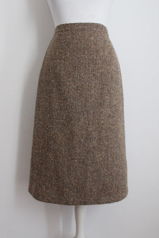 VINTAGE BOUCLE KNIT WOOL BEIGE PENCIL SKIRT - SIZE 10