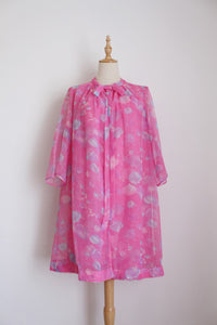 VINTAGE CHIFFON PINK PRINTED TWO PIECE DRESS SET - SIZE 12