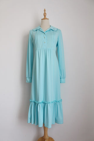 VINTAGE BABY BLUE RUFFLE LONG SLEEVE DRESS - SIZE 10