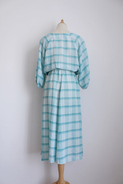 VINTAGE BLUE PLAID CHECK DRESS - SIZE 14