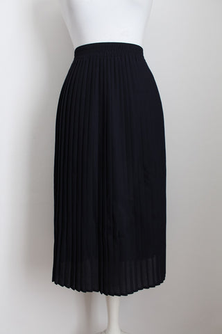 VINTAGE PLEATED NAVY BLUE MIDI SKIRT - SIZE 18