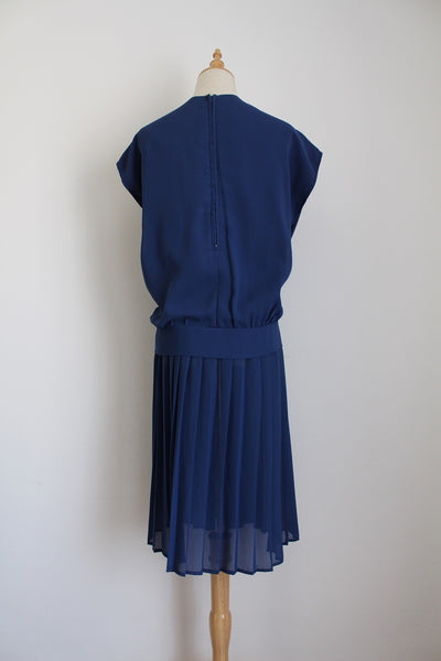 VINTAGE NAVY DROP WAIST PLEATED DRESS - SIZE 16