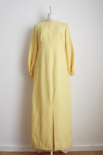 VINTAGE YELLOW LONG SLEEVE MAXI EVENING DRESS - SIZE 14