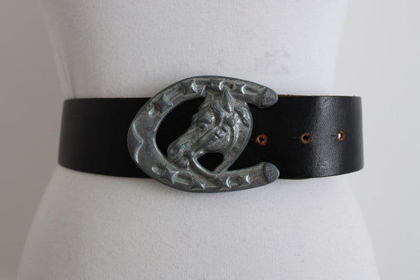 VINTAGE HORSE SHOE BUCKLE BLACK LEATHER BELT