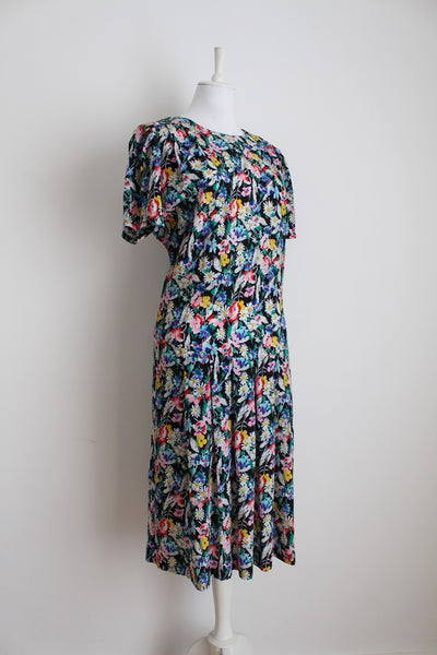 VINTAGE FLORAL PRINT DROP WAIST DAY DRESS - SIZE 14