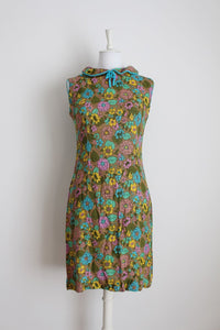 VINTAGE FLORAL PRINT BROWN TURQUOISE SHIFT DRESS - SIZE 10