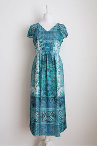 BETTY BARCLAY BLUE PRINT MAXI DAY DRESS - SIZE 16