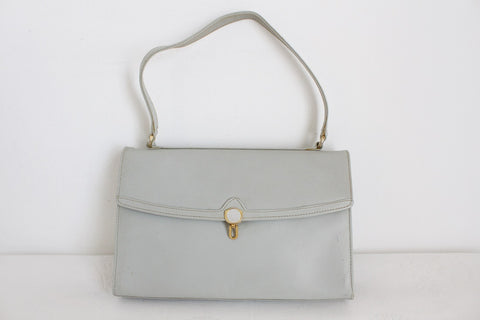 VINTAGE ITALIAN GENUINE LEATHER GREY KELLY BAG