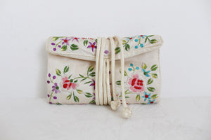 VINTAGE SILK SATIN EMBROIDERED JEWELLERY ROLL