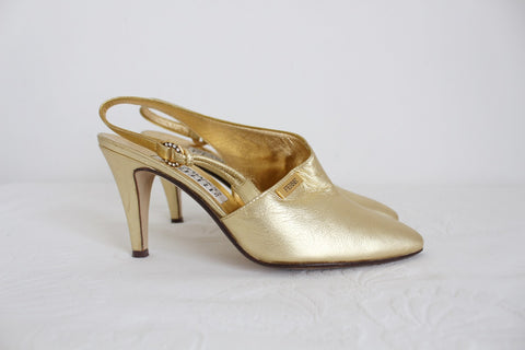 GIANFRANCO FERRE DESIGNER VINTAGE GOLD LEATHER HEELS - SIZE 2