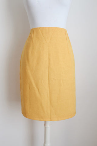 VINTAGE YELLOW FITTED PENCIL SKIRT - SIZE 10
