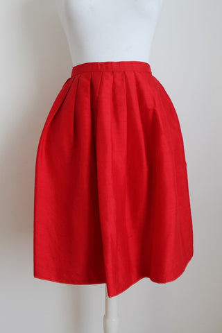 100% SILK VINTAGE RED PLEATED HIGH WAIST SKIRT - SIZE 8
