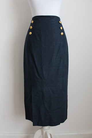 VINTAGE BLUE LINEN MIDI PENCIL SKIRT - SIZE 12
