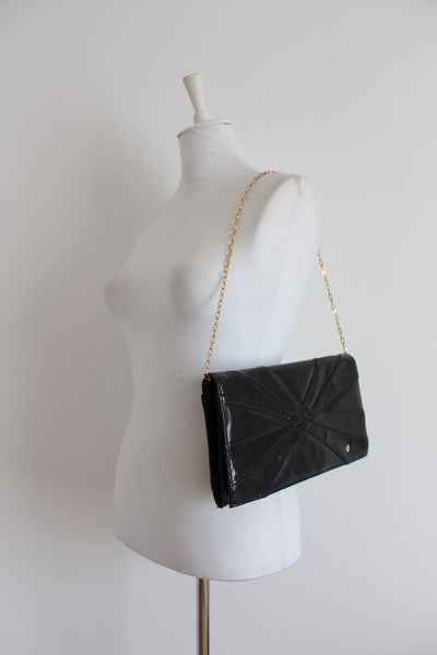 CHARLES JOURDAN DESIGNER VINTAGE SNAKE SKIN LEATHER BLACK BAG