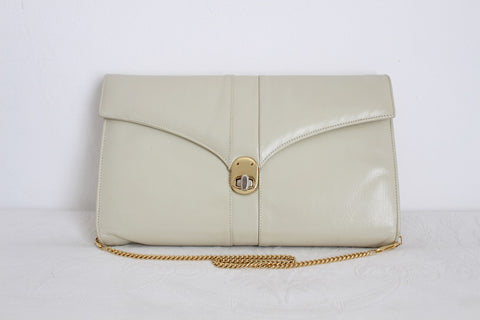 VINTAGE GENUINE LEATHER CREAM CHAIN SLING BAG