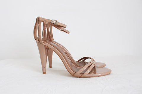 REISS DESIGNER NUDE PATENT LEATHER HEELS - SIZE 7