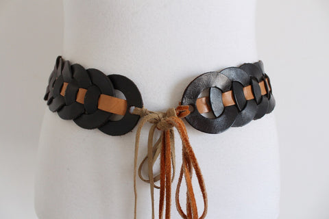 VINTAGE GENUINE LEATHER WOVEN OMBRE BELT