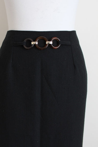 VINTAGE BLACK BELT DETAIL MIDI SKIRT - SIZE 10