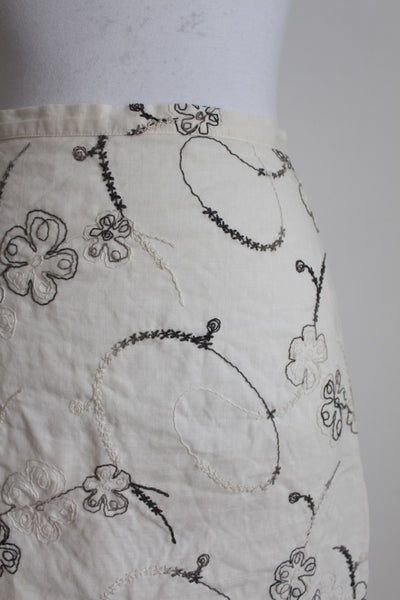 PRET A PORTER LINEN EMBROIDERED SKIRT - SIZE 8