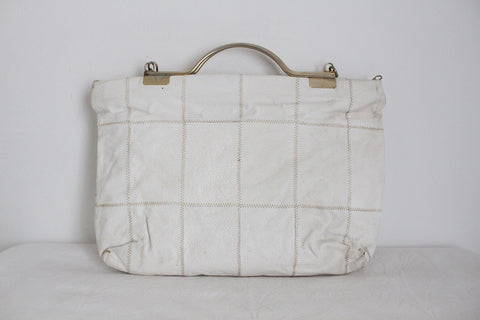 VINTAGE WHITE GENUINE LEATHER PATCH LARGE BAG