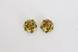 VINTAGE AUSTRIAN CRYSTALS GREEN YELLOW CLIP-ON EARRINGS