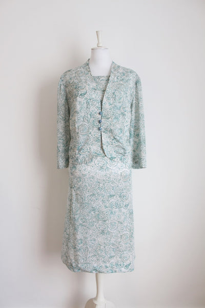 VINTAGE TWO PIECE GREEN WHITE FLORAL DRESS TOP SET - SIZE 24