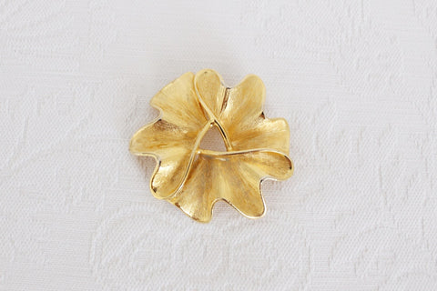 VINTAGE LARGE GOLD TONE ABSTRACT BROOCH PIN