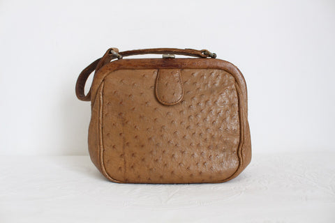 GENUINE OSTRICH SKIN VINTAGE TAN SMALL HANDBAG