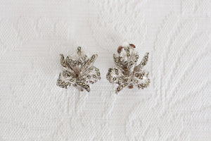 VINTAGE MARCASITE STONE SILVER PLATED CLIP-ON EARRINGS