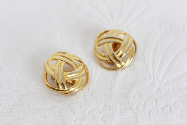 VINTAGE GOLD PLATED BASKET CLIP-ON EARRINGS